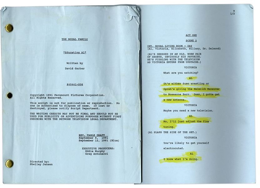 ''The Royal Family'' Episode 7 Revised Table Draft Script Owned by Redd Foxx of ''Sanford & Son'' -- Dated Weeks Before Foxx's Death -- Very Good Condition -- From Redd Foxx Estate