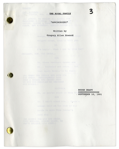 ''The Royal Family'' Rough Draft Script Owned by Redd Foxx of ''Sanford & Son'' -- Dated One Month Before Foxx's Death -- 43 Pages -- Very Good Condition -- From Redd Foxx Estate