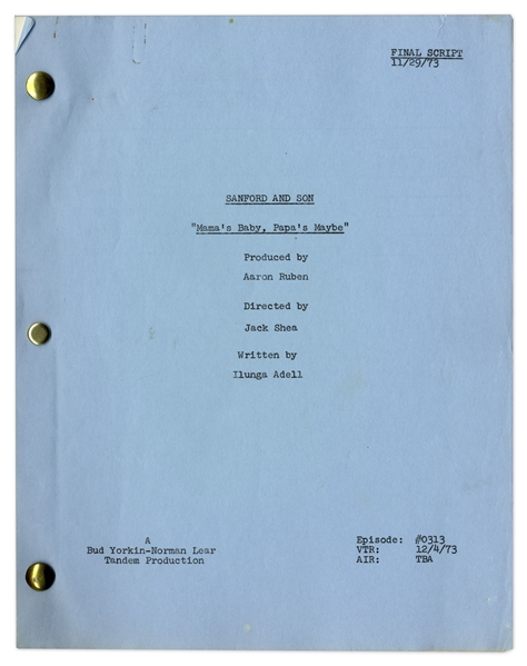 ''Sanford & Son'' Season 3, Episode 14 Final Draft Script Owned by Redd Foxx -- 45 Pages -- Very Good Condition -- From Redd Foxx Estate