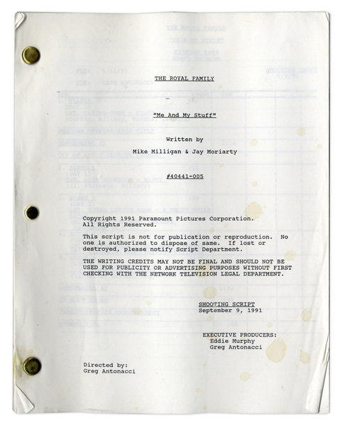 ''The Royal Family'' Episode 3 Shooting Script Owned & Annotated by Redd Foxx -- Dated Weeks Before Foxx's Death -- 47 Pages -- Very Good Condition -- From Redd Foxx Estate