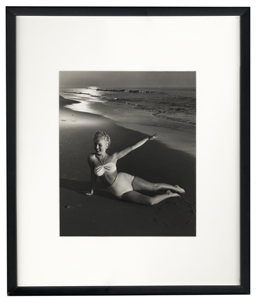 Original 1946 Photograph of Marilyn Monroe Taken by Andre de Dienes -- With de Dienes Backstamp, Developed by Him From His Negative -- Large Format Photo Measures 11'' x 12.25''