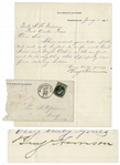 Benjamin Harrison 1882 Letter Signed on U.S. Senate Stationery -- ...will...do anything that I properly can for a deserving soldier...