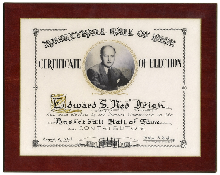 Edward S. ''Ned'' Irish's 1964 Basketball Hall of Fame Induction Plaque -- Founder of the New York Knicks