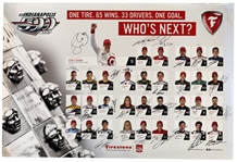 2015 Indy 500 Line-Up Poster Signed by All 33 Drivers -- Includes Champions Juan Pablo Montoya, Tony Kanaan & Ryan Hunter-Reay