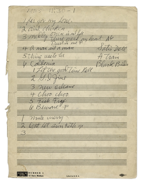 Rock n' Roll Hall of Famer, Louis Jordan AMQS & Set List -- Autograph Musical Quotation Signed (AMQS) Is for ''Ain't Nobody Here But Us Chickens'', the Number One Single