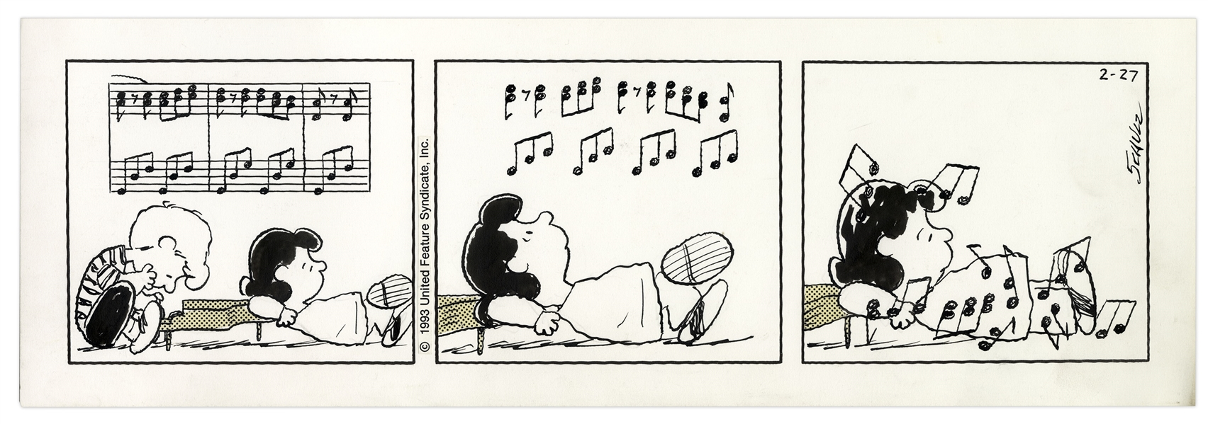 Charles Schulz Hand-Drawn ''Peanuts'' Strip From 1993 Featuring Lucy & Schroeder at His Piano