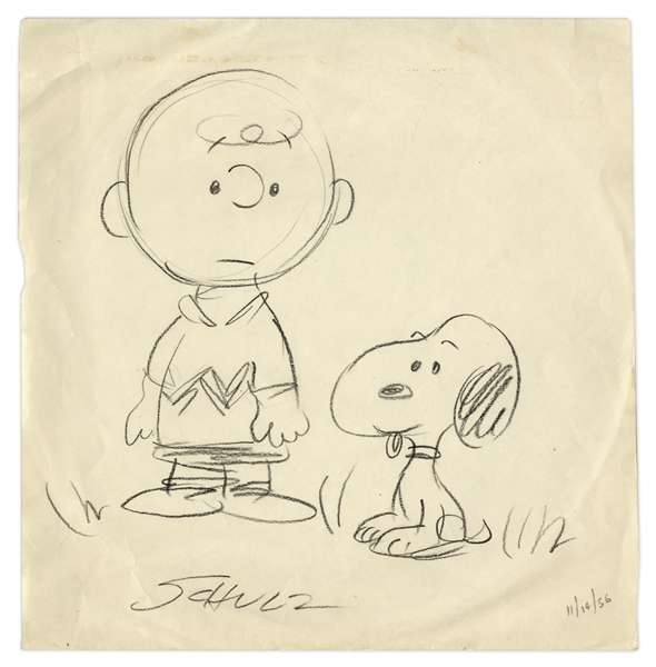 Charles Schulz Hand-Drawn & Signed ''Peanuts'' Illustration From 1956 Featuring Charlie Brown & Snoopy -- Measures 10'' x 10''