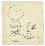Charles Schulz Hand-Drawn & Signed Peanuts Illustration From 1956 Featuring Charlie Brown & Snoopy -- Measures 10 x 10
