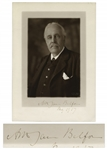 British Prime Minister Arthur James Balfour Signed Photo From 1917 -- Year of the Balfour Declaration Supporting Jewish Settlement in Palestine