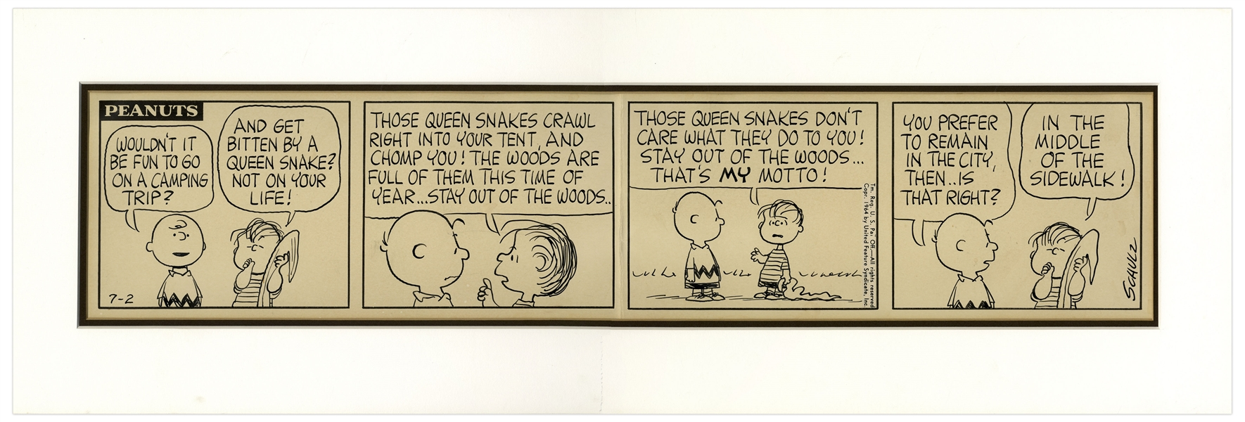Charles Schulz Hand-Drawn ''Peanuts'' Comic Strip -- Featuring Charlie Brown & Linus Holding His Blanket