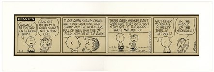 Charles Schulz Hand-Drawn Peanuts Comic Strip -- Featuring Charlie Brown & Linus Holding His Blanket