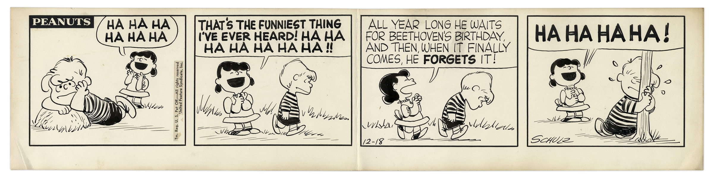 1957 ''Peanuts'' Comic Strip Hand-Drawn by Charles Schulz -- Featuring Lucy & Schroeder