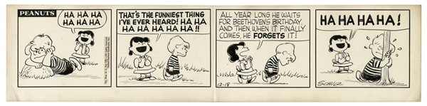 1957 Peanuts Comic Strip Hand-Drawn by Charles Schulz -- Featuring Lucy & Schroeder