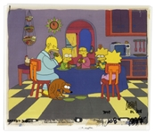 The Simpsons Hand Painted Cels Featuring Simpson Family and Their Dog, Santas Little Helper -- From Season 2 Episode 7, Bart vs. Thanksgiving -- From the Sam Simon Estate