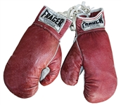 Sonny Liston Boxing Gloves From 1963 Signed by Trainer Joe Pollino -- With LOA From Boxing Promoter Mel Greb