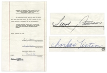 Fight Agreement Signed by Sonny Liston & Floyd Patterson in 1963 -- States No Re-Match Requirement for Patterson If He Wins Fight