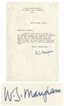 Somerset Maugham Typed Letter Signed