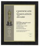 1963 Academy Award Nomination Presented to Henry Grace & Hugh Hunt for Twilight of Honor