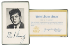 John F. Kennedy Signed U.S. Senate ID Card -- With LOA From Evelyn Lincoln