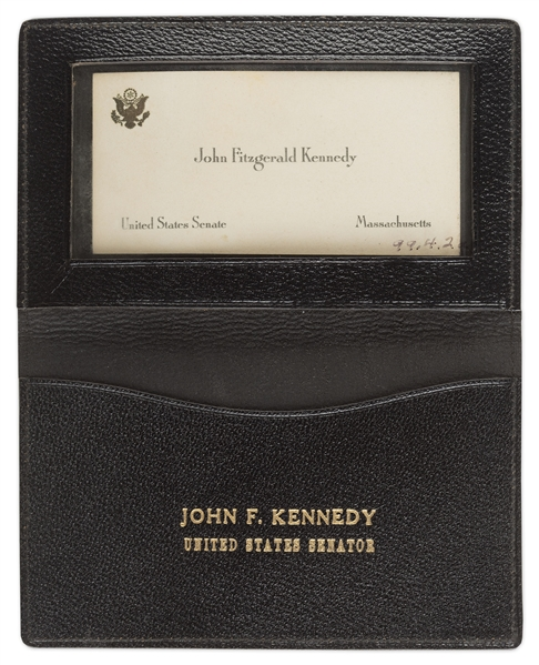 The Card Has A Youthful Photo Of Jack Kennedy On Front Back Features Senate Logo And Printed Signature Joseph C Duke
