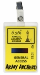 65th Academy Awards TV Pass -- Belonged to Army Archerd, Columnist for Variety