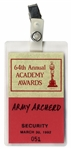 64th Academy Awards TV Pass -- Belonged to Army Archerd, Columnist for Variety