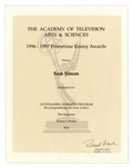 Emmy Nomination for The Simpsons Given to Sam Simon in 1997 for Episode Homers Phobia -- From the Sam Simon Estate