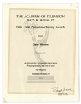 Emmy Nomination for The Simpsons Given to Sam Simon in 1996 -- From the Sam Simon Estate