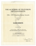 Emmy Nomination for The Simpsons Given to Sam Simon in 1995 -- From the Sam Simon Estate