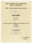 Emmy Nomination for The Simpsons Episode of Homer Vs. Lisa Given to Sam Simon in 1991 -- From the Sam Simon Estate