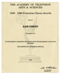 Emmy Nomination for The Simpsons Christmas Special Given to Sam Simon in 1990 -- From the Sam Simon Estate