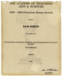 Emmy Nomination for The Simpsons Given to Sam Simon in 1990 -- From the Sam Simon Estate