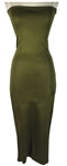 Kylie Jenner Owned Olive Green Strapless Dress