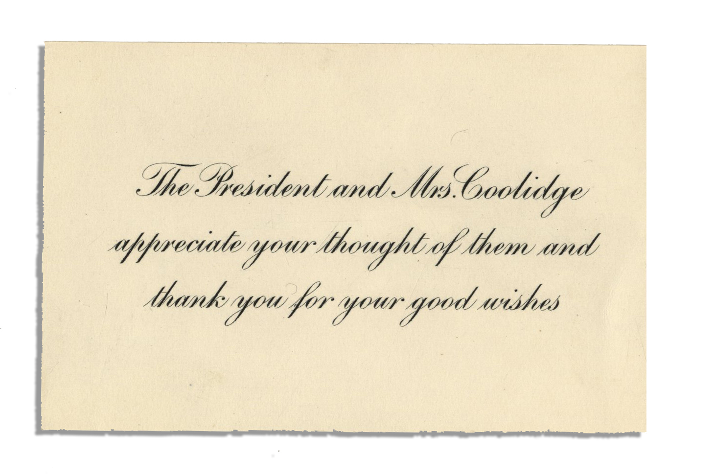 Lot Detail Calvin Coolidge Thank You Card Lot Also