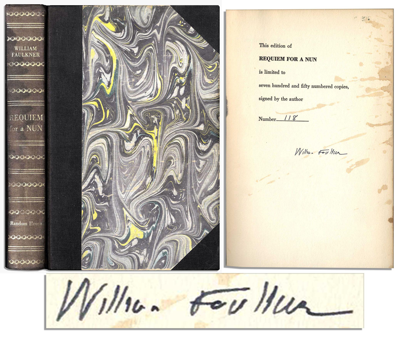 William Faulkner first edition Nice, Clean William Faulkner Signature in His Novel ''Requiem for a Nun''