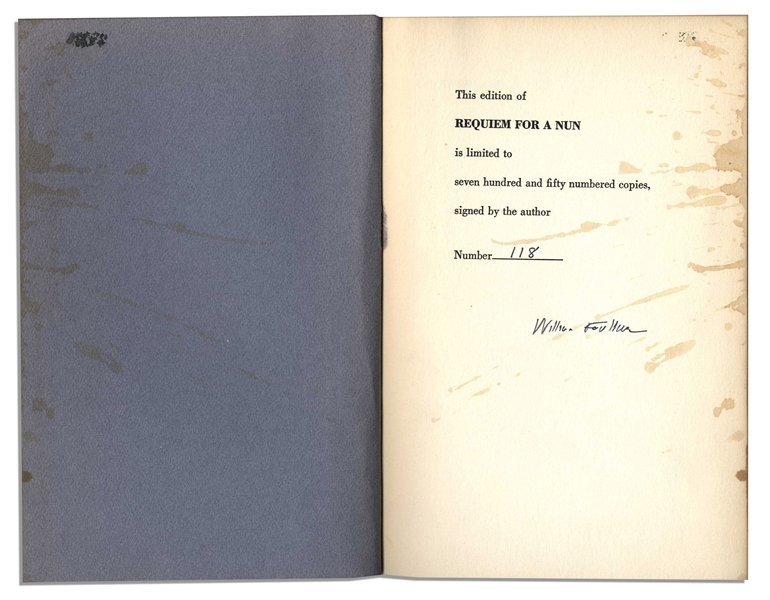 Nice, Clean William Faulkner Signature in His Novel ''Requiem for a Nun''