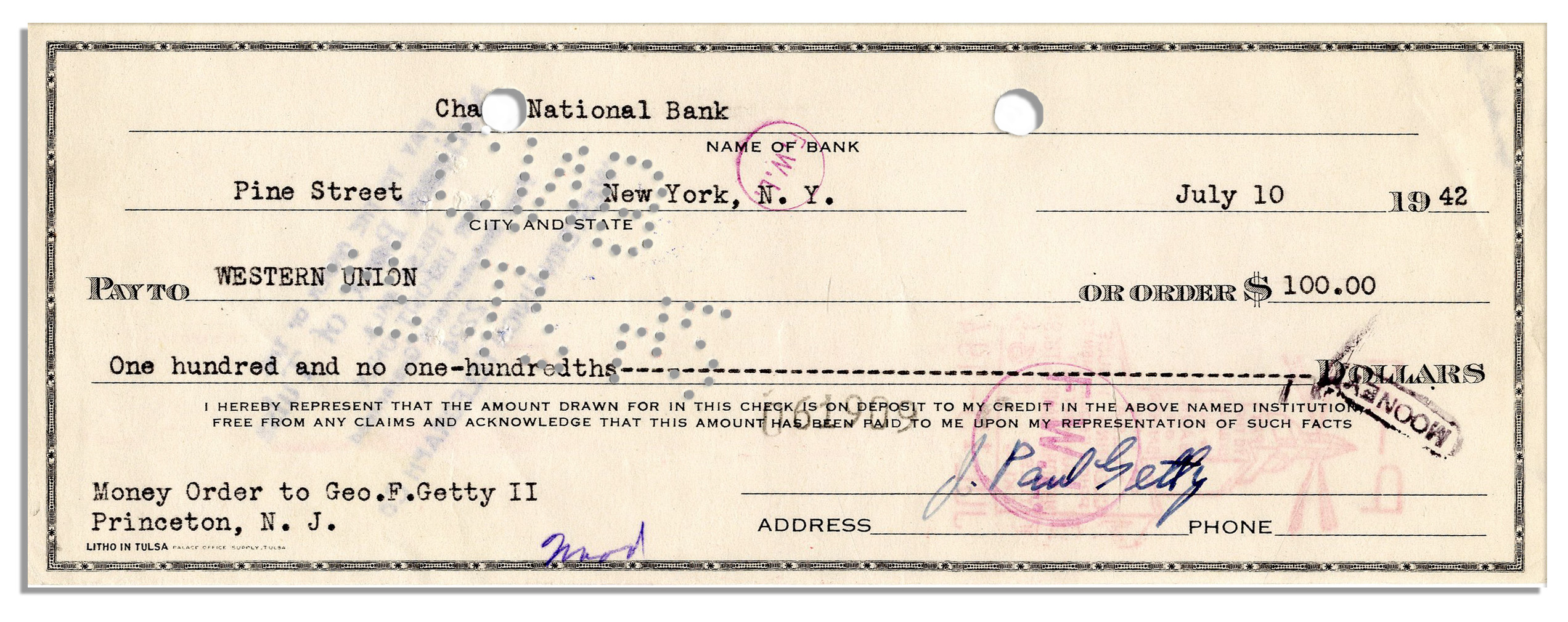 lot detail billionaire oil magnate j paul getty signed check rh natedsanders com bank of america wiring money abroad