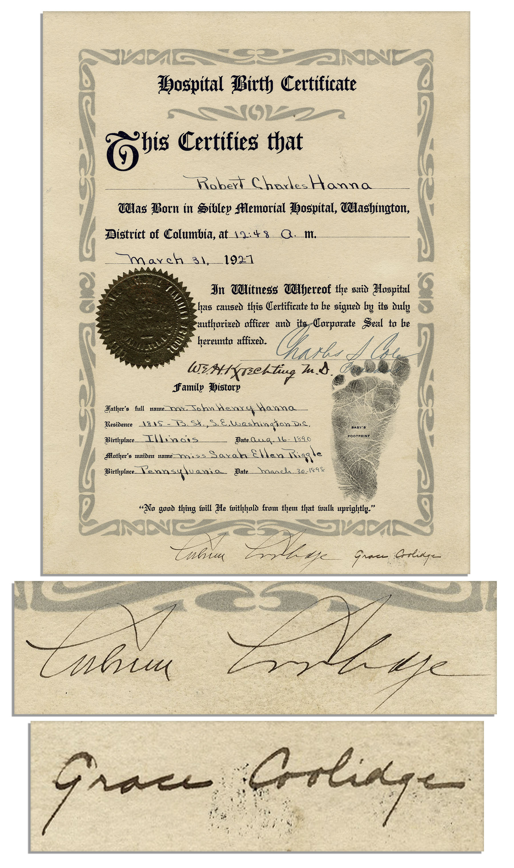 Lot detail president calvin coolidge first lady grace signed president calvin coolidge first lady grace signed 1927 birth certificate xflitez Choice Image