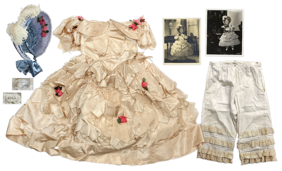 Shirley Temple Costume Auction Iconic Silk Taffeta Dress and Bonnet Screen-Worn by Shirley Temple in ''The Little Colonel''