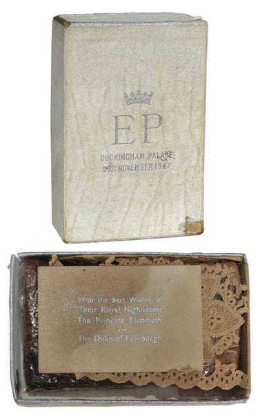 Queen Elizabeth Autograph Queen Elizabeth Wedding Cake Slice