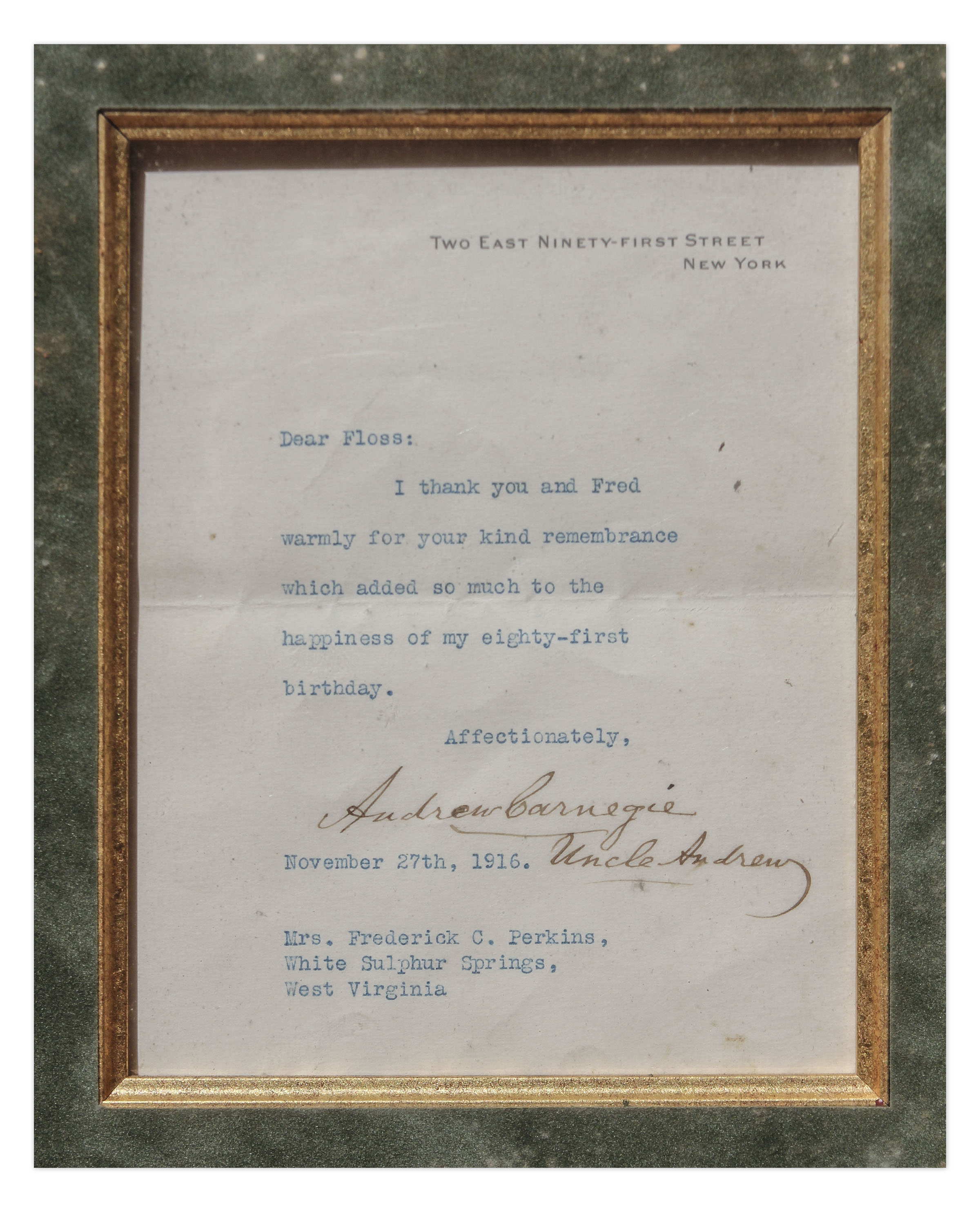 Lot Detail - Andrew Carnegie Lot of 3 Signed Items in Framed ...
