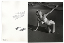 Original 1946 Photograph of Marilyn Monroe Taken by Andre de Dienes -- With de Dienes Backstamps, Developed by Him From His Negative -- Large Format Photo Measures 11 x 12.25