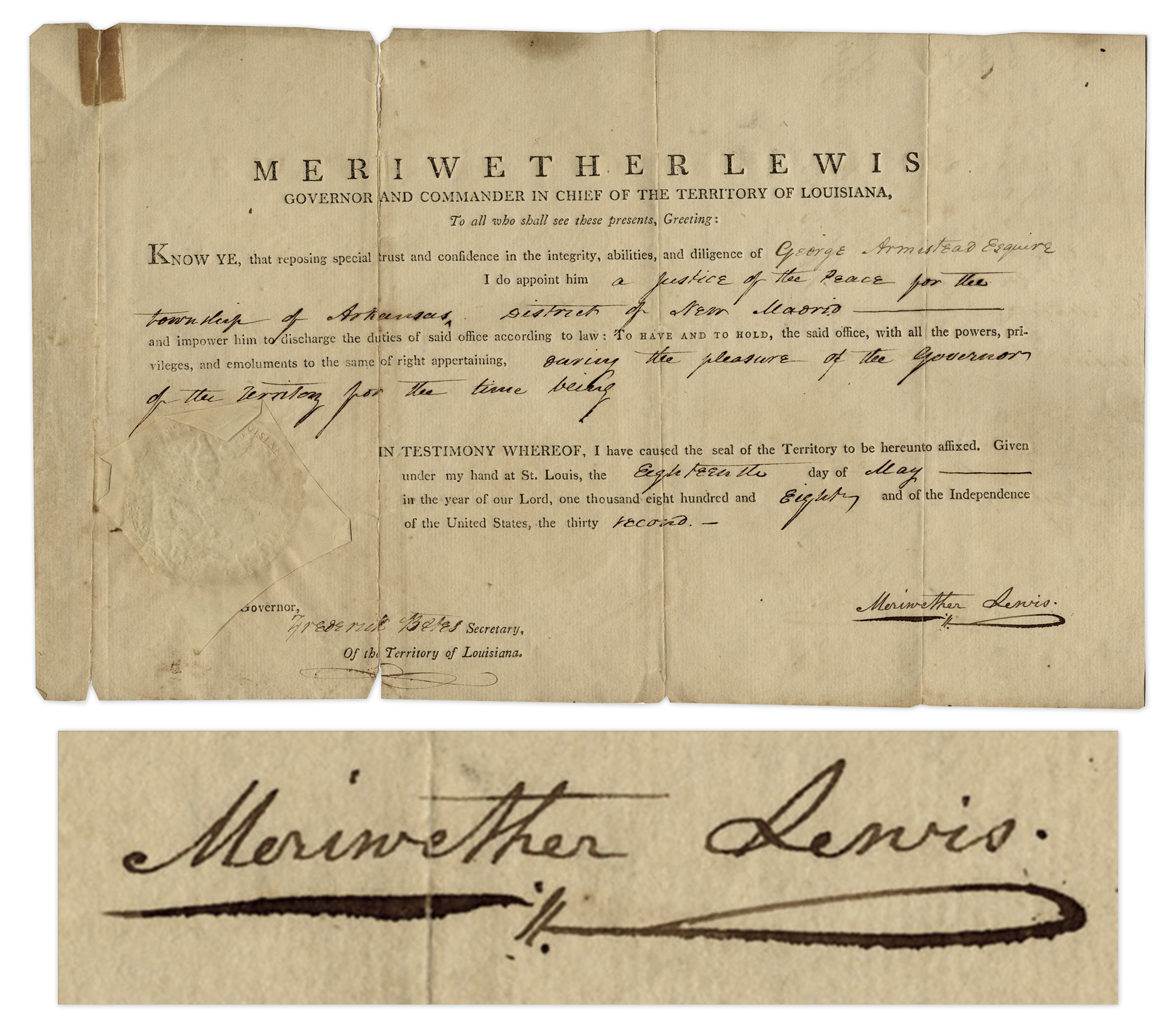 Lewis and Clark autograph Meriwether Lewis Signed Appointment as Governor of Louisiana From 1808 -- Very Scarce Signature, Dated 2 Years After the Lewis & Clark Expedition