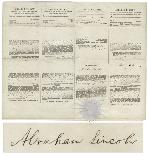 Abraham Lincoln Document Signed Abraham Lincoln 4-Language Ship's Paper Signed -- With Full ''Abraham Lincoln'' Signature