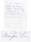 Harper Lee Autograph Note Signed -- Lee Pens a Response Writing That She Cant Respond