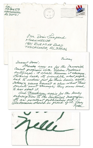 Harper Lee Autograph Letter Signed on Black Students at University of Alabama -- ''...it's incredible what people had to endure just for their basic rights. Today's young haven't a clue...''