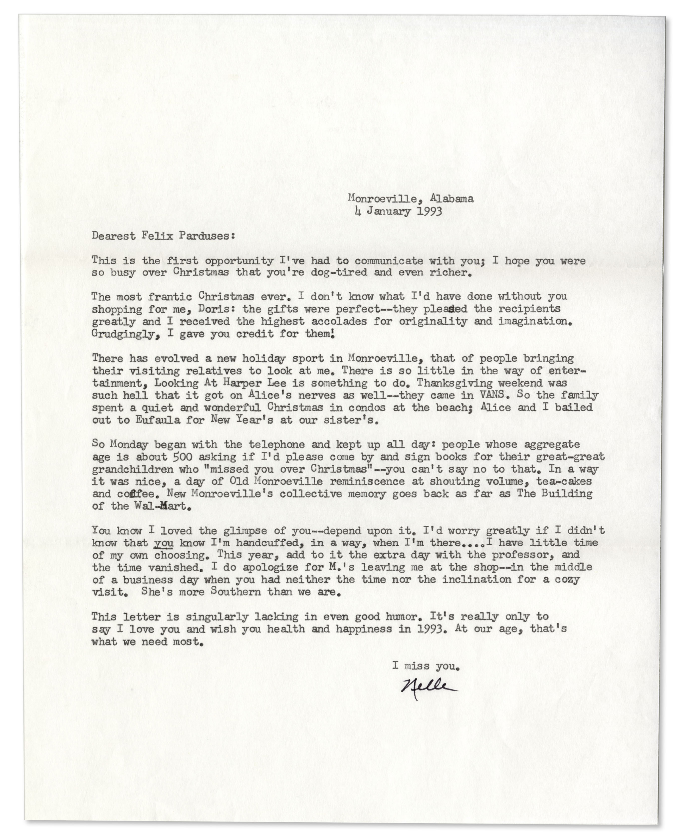 Lot Detail - Harper Lee Personal Typed Letter Signed -- \'\'...a new ...