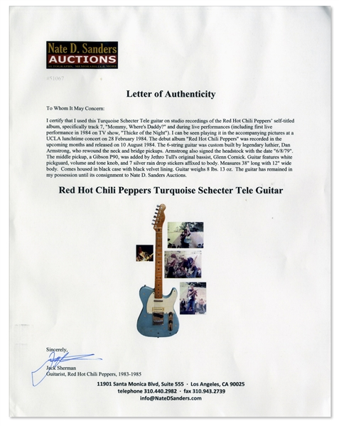 Jack Sherman of Red Hot Chili Peppers Turquoise Schecter Tele Guitar -- Used Live & On Debut Album in 1984