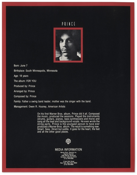Prince Demo Tape & Very Rare Press Kit (Only 1 of 15) -- Used to Promote Prince in 1977 -- Includes Unreleased Track, ''Jelly Jam''