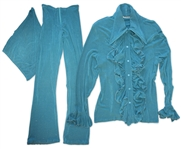 Prince Worn Turquoise 3-Piece Outfit -- His Signature Outfit in His Favorite Style -- Worn During His Press Conference in 1998 in Marbella, Spain